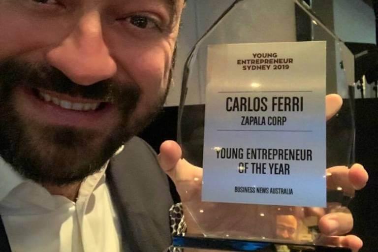 Carlos Ferri and his NSW Entrepreneur of the Year 2019 award